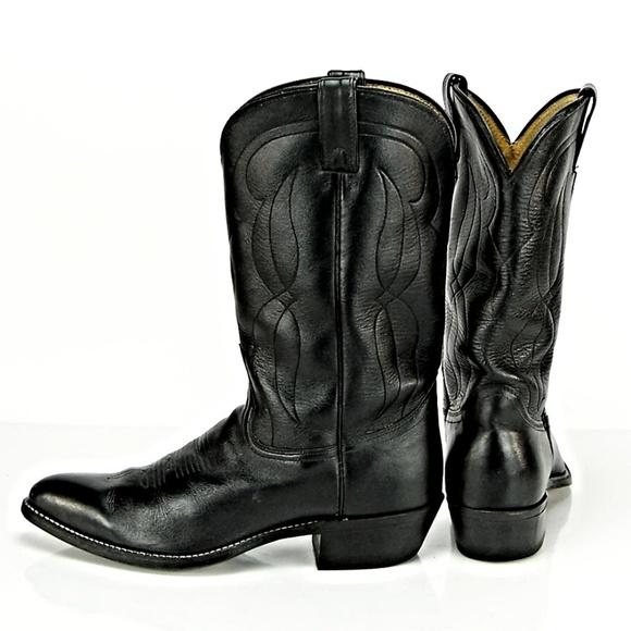 Abilene Men's Black Leather Polished Cowboy Boot